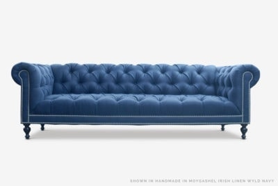 Navy Linen Tufted Seat Chesterfield Wright