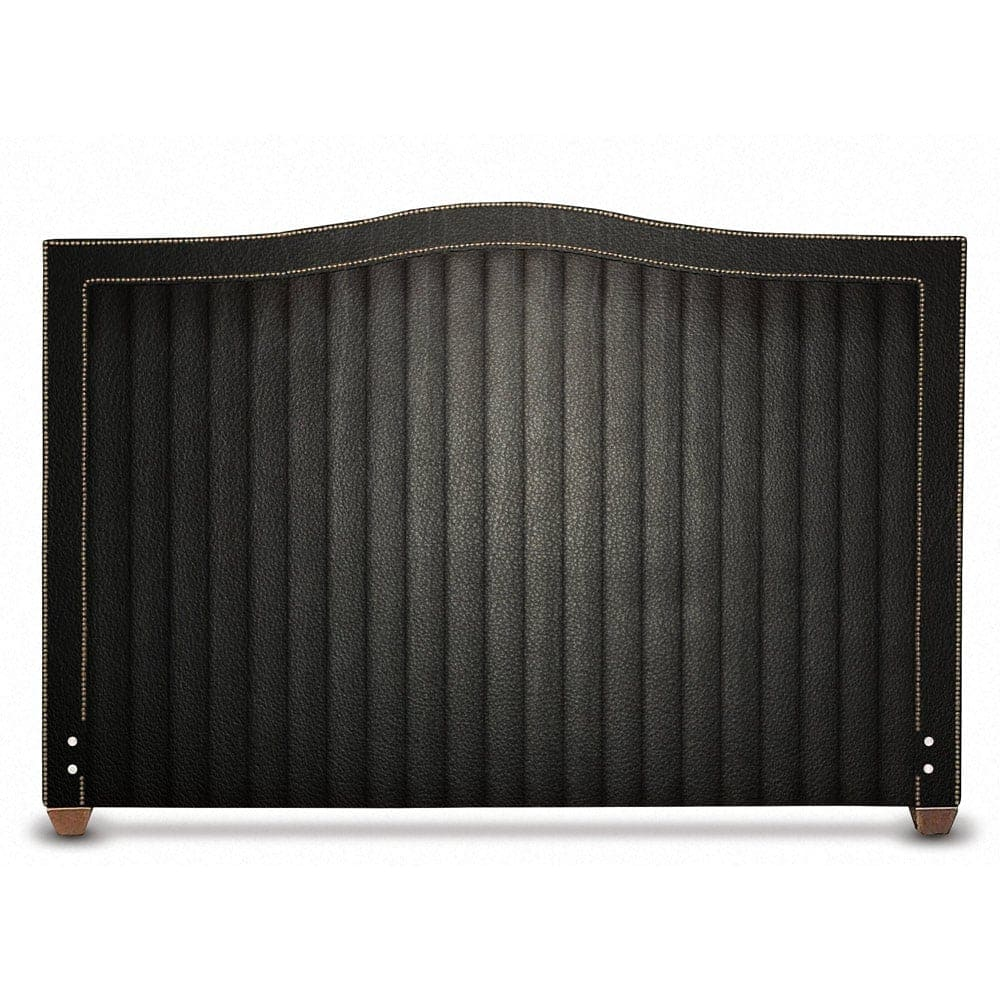 Glenview Channel Tufted Black Leather Headboard
