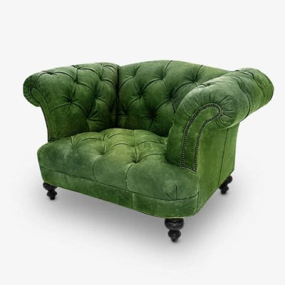 Hawthorne Green Leather Tufted British Chesterfield Pub Chair