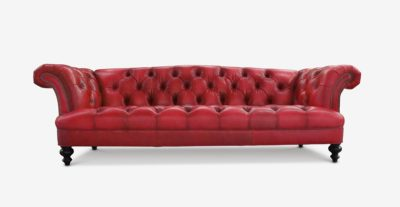 Hawthorne Pub Style Chesterfield Sofa In Cherry Red Leather
