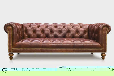 Wright Tufted-Seat Chesterfield Sofa In Shiny Brown Leather
