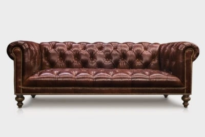 Wright Tufted Seat Chesterfield Sofa In Espresso Leather