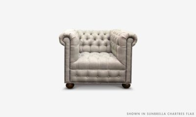 Of Iron And Oak Hepburn Tufted Chesterfield Chair In Sunbrella Chartres Flax Fabric