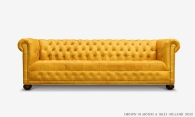 Hepburn Tufted Chesterfield Sofa In Moore & Giles Holland Gold Leather
