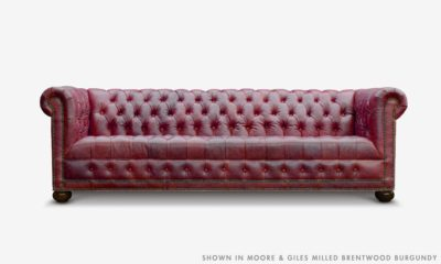 Of Iron And Oak Hepburn Tufted Chesterfield Sofa In Moore And Giles Milled Brentwood Burgandy Leather