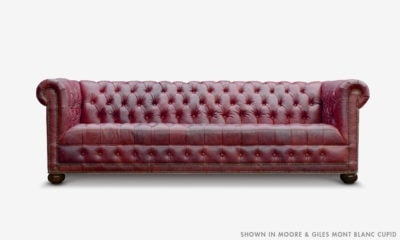 Hepburn Tufted Chesterfield Sofa In Moore & Giles Mont Blanc Cupid Leather