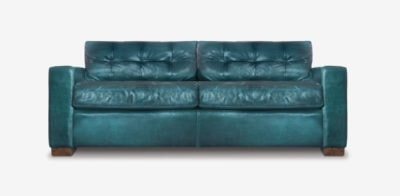 Brando Track Arm Sofa In Teal Leather