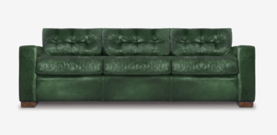 Brando Blind-Tufted Sofa In Green Leather