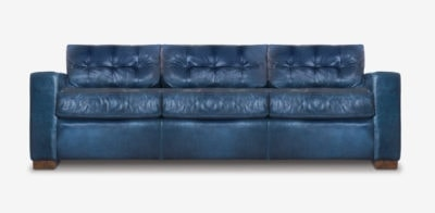 Brando Blind-Tufted Track Arm Sofa In Navy Leather