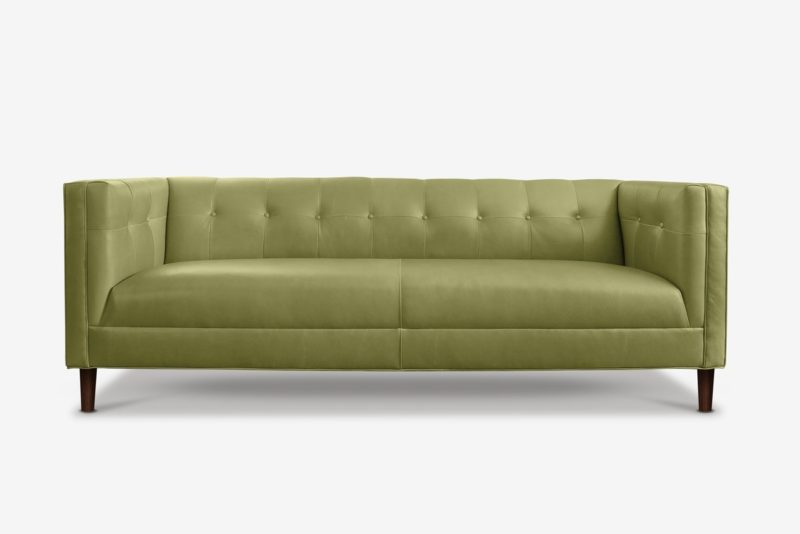 Holiday Mid-Century Tuxedo Sofa In Verde Pera Leather