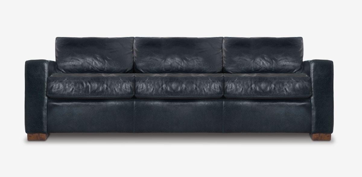 McQueen Track Arm Sofa In Black Leather