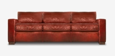 McQueen Track Arm Sofa In Red Leather