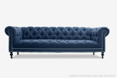 Navy Linen Tufted Seat Chesterfield