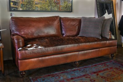 The Hitchcock English Roll Arm Sofa In Brompton Brown Leather And Real Hair-on-Hide Bench Cushion