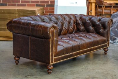 Wright Tufted Seat Sofa In Brompton Brown Leather