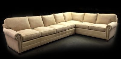 Cream Colored Leather Roosevelt Sectional