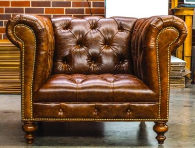 Custom Brown Leather Hemingway With Tufted Seat