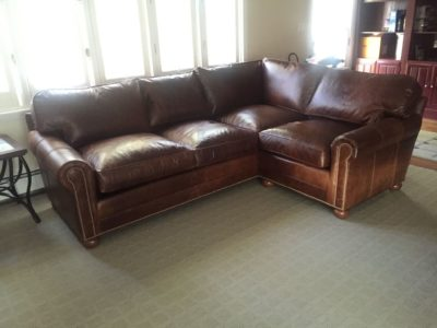 Custom Built American Made Roosevelt Sectional In Brompton Brown Leather