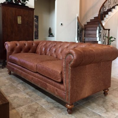 Brown Leather Fitzgerald Chesterfield Sofa