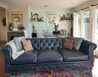 Hemingway Chesterfield Sofa In Navy Leather