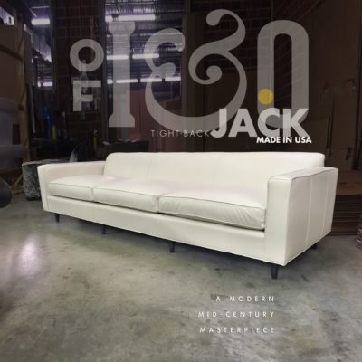 Tight Back Jack Mid-Century Sofa In White Leather