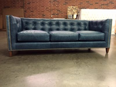 Beautiful Custom Built Dylan Square Tufted Mid-Century Sofa In Navy Leather