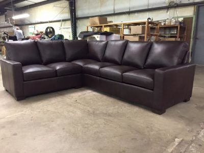 Custom Chocolate Brown Leather McQueen Sectional Sofa