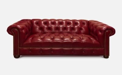 Wright Tufted-Seat Chesterfield Sofa In Moyer Ashley Stargo Red Delicious Leather