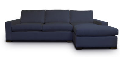 McQueen Chaise Sectional Sofa In Dark Navy Blue Fabric