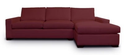 McQueen Chaise Sectional In Merlot Fabric