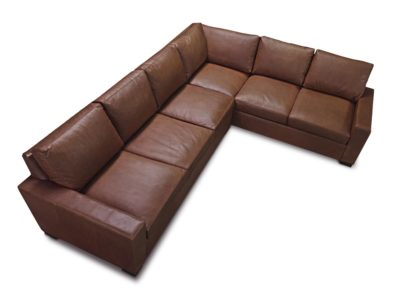 McQueen Track Arm Sectional Sofa In Chocolate Brown Leather