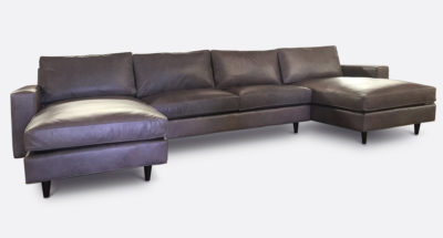 Redding Mid-Century U-Shaped Double Chaise Sectional In Grey Leather
