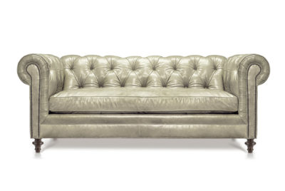 Twain Scalloped Chesterfield In Mont Blanc Ivory Leather