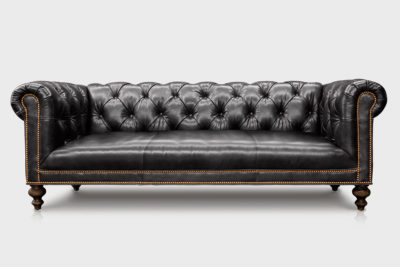 Wright Tight Fixed Seat Chesterfield Loveseat In Romanza Black Leather
