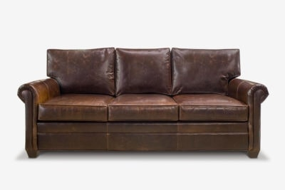 Roosevelt Roll Arm Sofa In Chocolate Leather