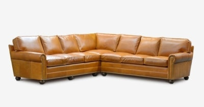 Roosevelt Roll-Arm L-Shaped Sectional In Cognac Leather