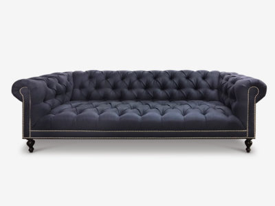 Wright Tufted Seat Black Fabric Chesterfield