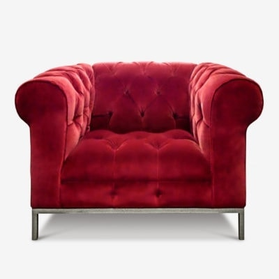 Wright Tufted Seat Red Velvet Chesterfield Chair