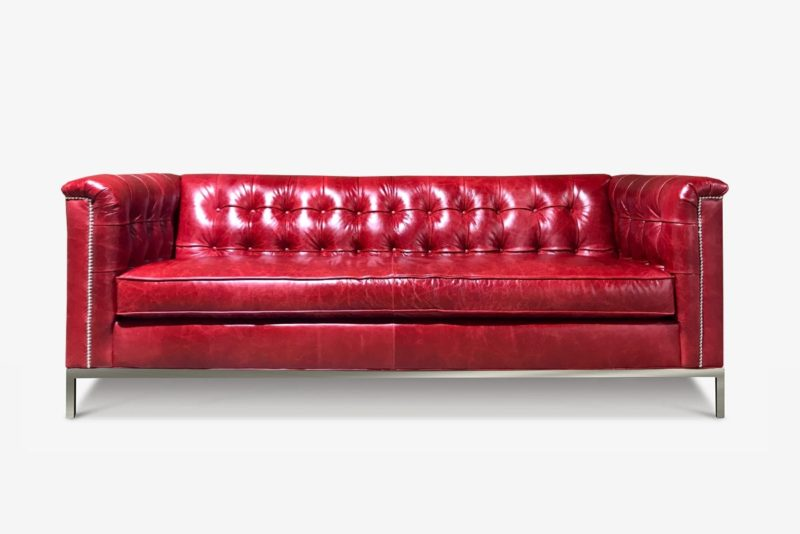 Neil Mid-Century Sofa In Cranberry Leather On Stainless Steel Legs
