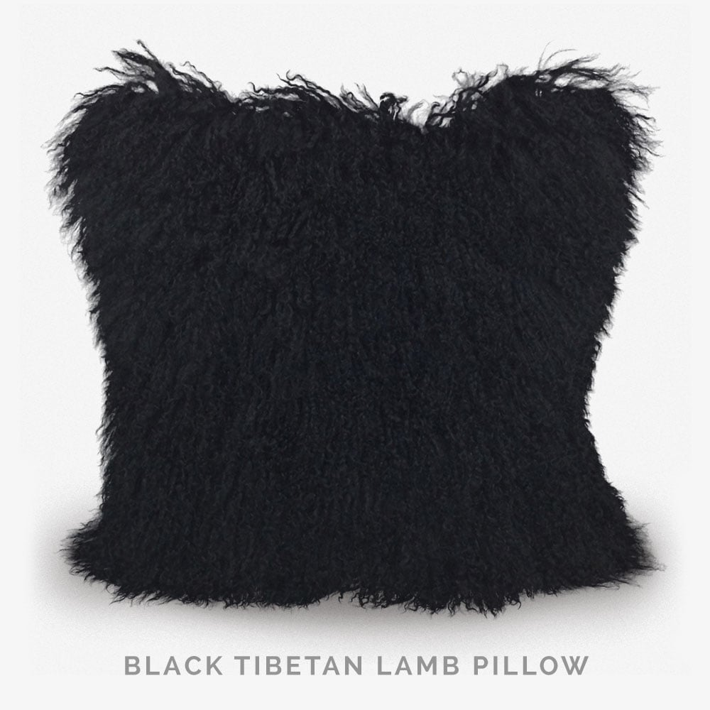Black Tibetan Lamb Pillow