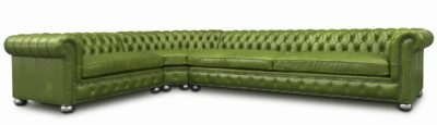 Irving Chesterfield Sectional With Radial Corner In Autumn Leaf Leather