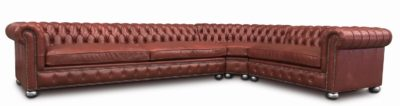 Irving Chesterfield Sectional With Radial Corner In Clay Leather