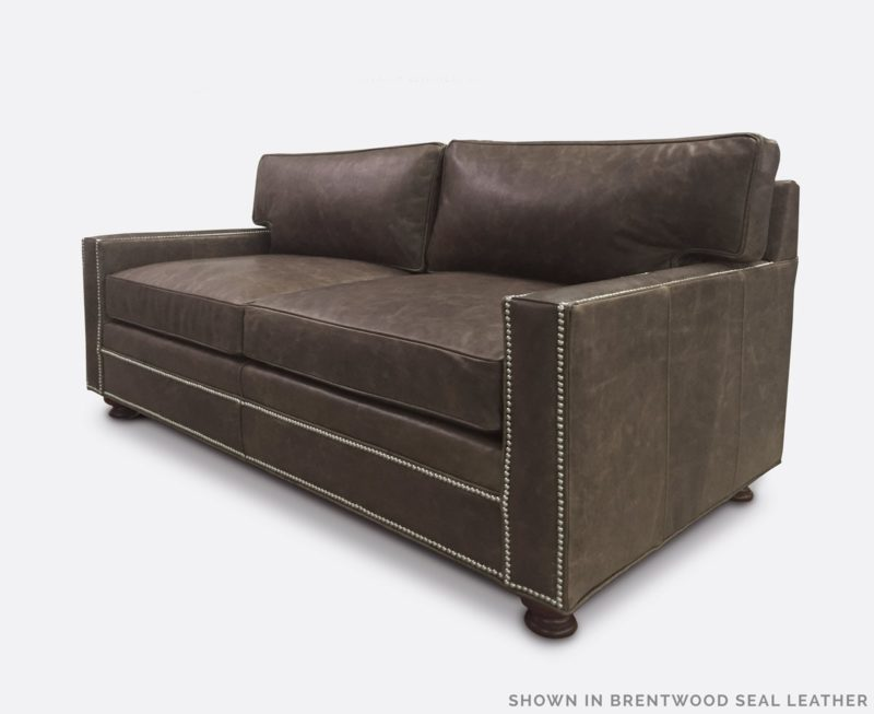 The Heston: A Petite Track Arm Sofa In Brentwood Seal Leather