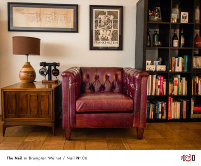 The Neil: A Mid-Century Diamond Tufted Chair In Brompton Walnut Leather
