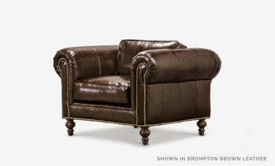 The Sidney: Modern Chesterfield Chair In Brompton Brown Leather