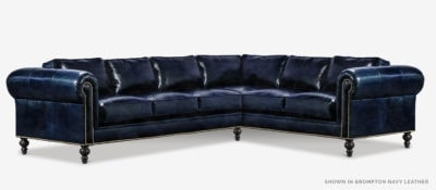 The Sidney: Modern Chesterfield Sectional In Brompton Navy Leather