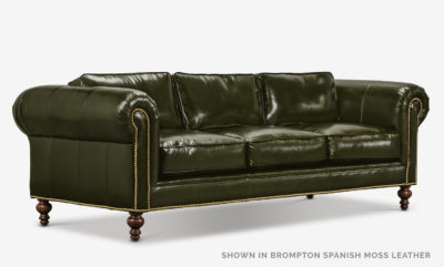 The Sidney: Modern Chesterfield Sofa In Brompton Spanish Moss Leather