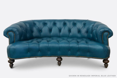 The Truman: Imperial Blue Leather Chesterfield Love Seat