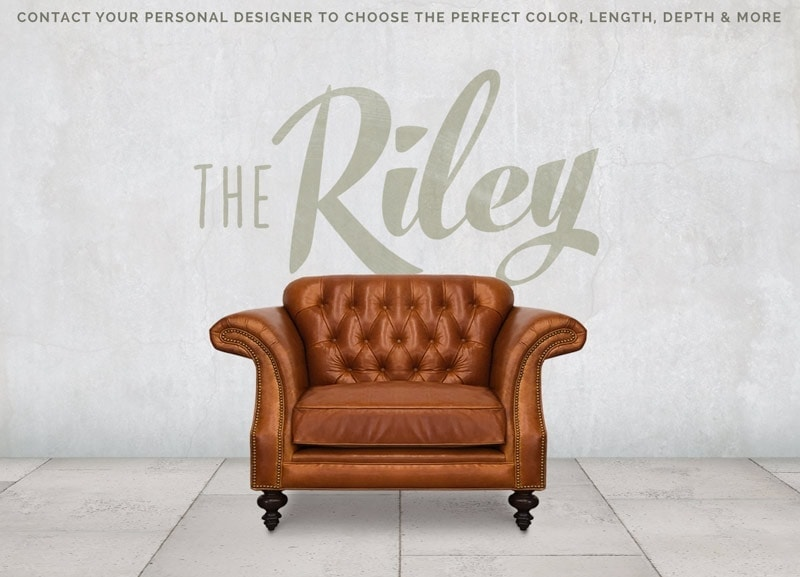 The Riley: High Back Scroll Arm Tufted Chesterfield Chair In Echo Cognac Leather