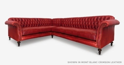The Riley: High Back Scroll Arm Tufted Chesterfield Sectional In Mont Blanc Crimson Leather
